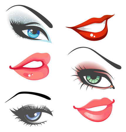 Lips   eyes set Illustration
