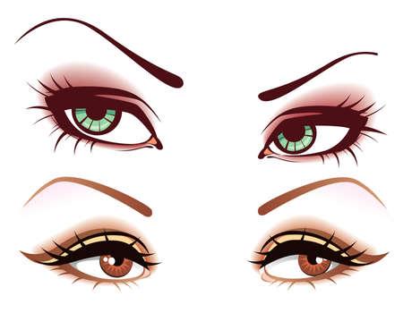 ojos marrones: Juego de ojos Vectores