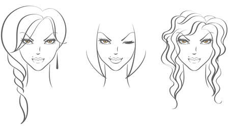 Vector illustration of Female face front Stock Vector - 15174869