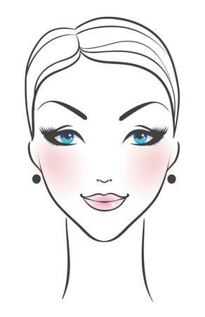 Vector illustratie van vrouwelijke gezicht