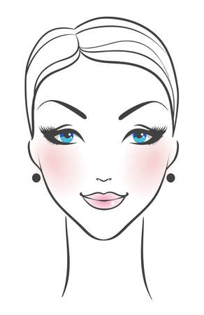 Vector illustration of Female face front