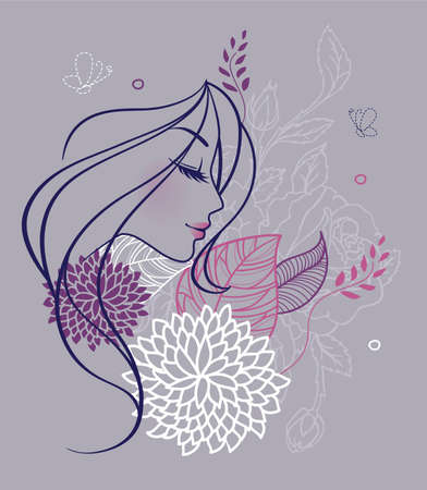 Vector illustration of Beauty floral woman