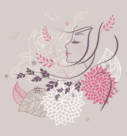 Vector illustration of Beauty floral woman Stock Vector - 15163819