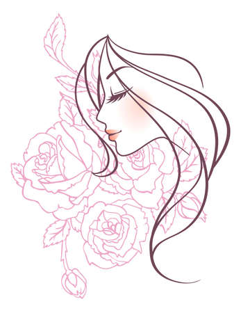 Ilustración vectorial de mujer de belleza floral