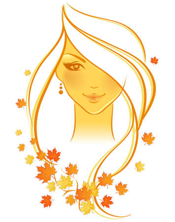 Elegant autumn girl, vector Vector