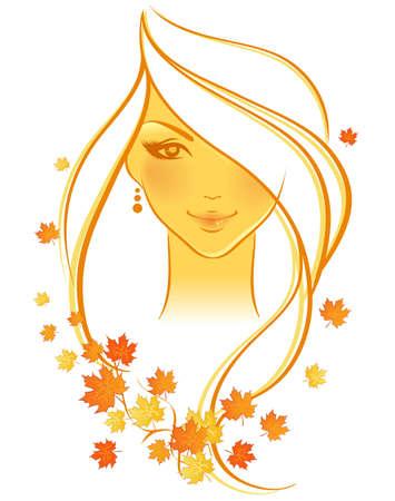 perfil de mujer rostro: Elegante chica otoño, vector