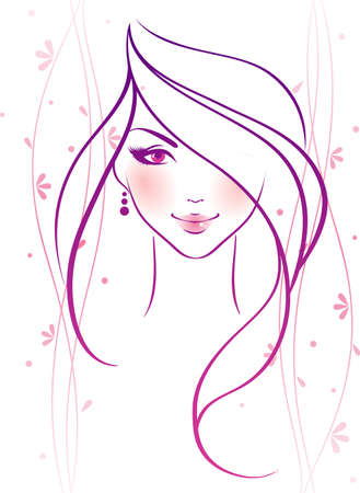 nude pretty girl: Vector illustration of Beauty floral woman