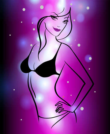 Vector illustration of Abstract color glowing background with girl Vector