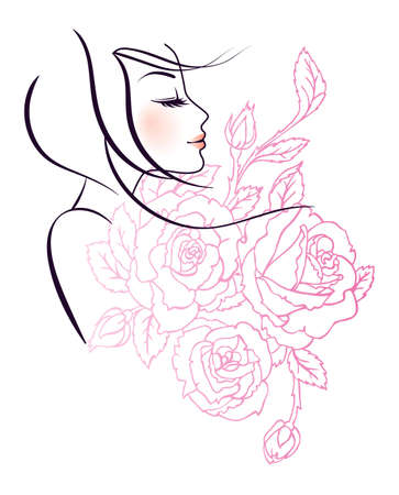 Vector illustration of Beauty floral woman Vector