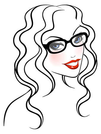 Vector illustration of Female face front Stock Vector - 15174841