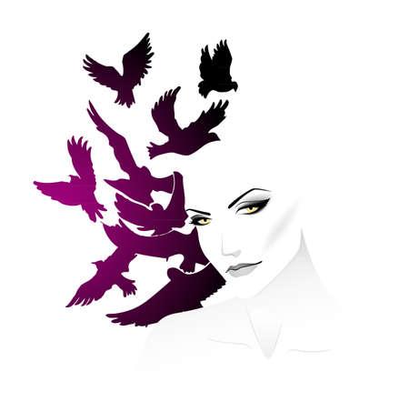 Women with bird Stock Vector - 15174870