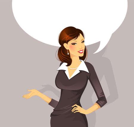 Vector illustration of Businesswoman speaking Illustration
