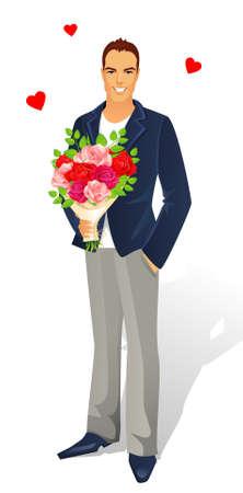 mazzo di fiori: L'uomo con bouquet di rose Vettoriali