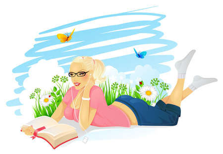 Vector illustration of Reading woman Vector