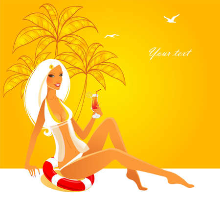 Vector illustration of Summwer back with woman Vector