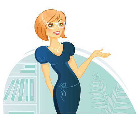 portrait woman: Vector illustration of Woman Presentation Illustration