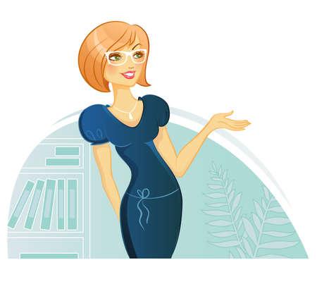 hand stand: Vector illustration of Woman Presentation Illustration
