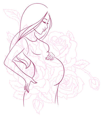 body silhouette: Vector illustration of Pregnant woman Illustration