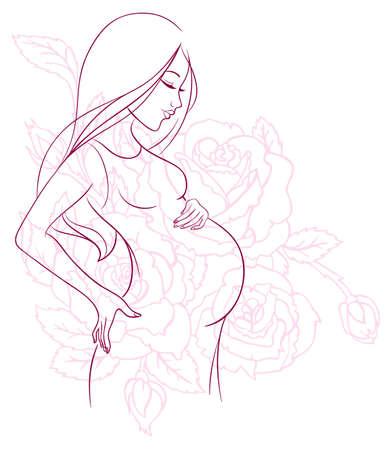 motherhood: Vector illustration of Pregnant woman Illustration