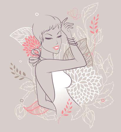 Vector illustratie van Schoonheid florale vrouw Vector Illustratie