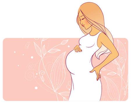buikje: Vector illustratie van Zwangere vrouw