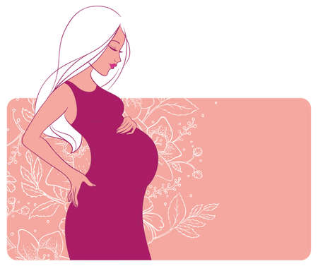 happy healthy woman: Vector illustration of Pregnant woman Illustration