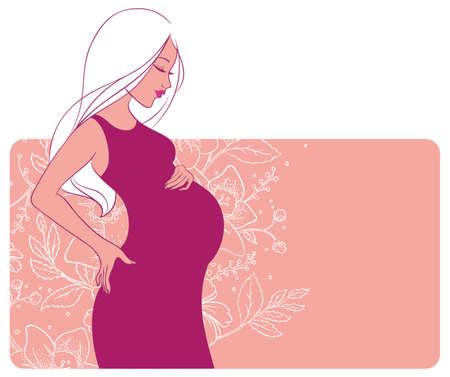pregnancy belly: Vector illustration of Pregnant woman Illustration