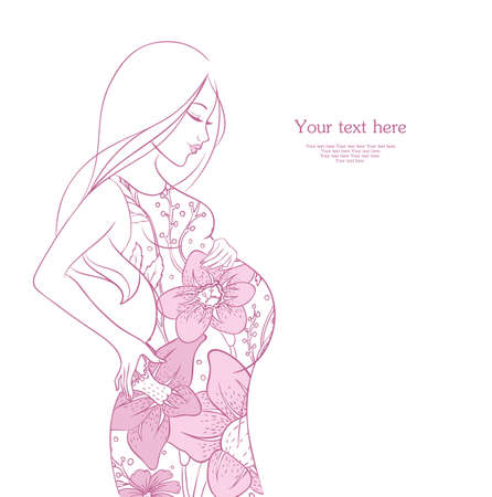 single mother: Vector illustration of Pregnant woman Illustration
