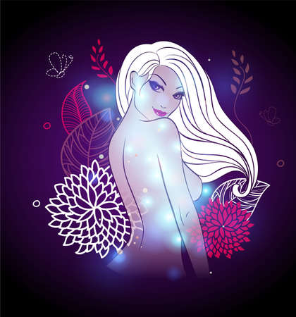 showgirls: Vector illustration of Abstract color glowing background with girl