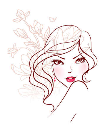 nude female: Vector illustration of Beauty floral woman
