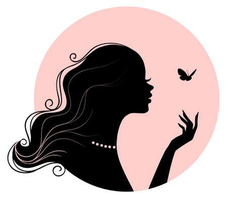 Ilustración vectorial de mujer de belleza con la mariposa