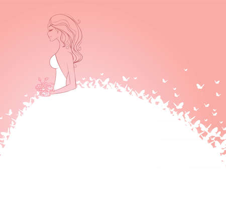 bride bouquet: Vector illustration of Bride in white dress