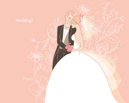 kiss couple: Vector illustration of Wedding Illustration