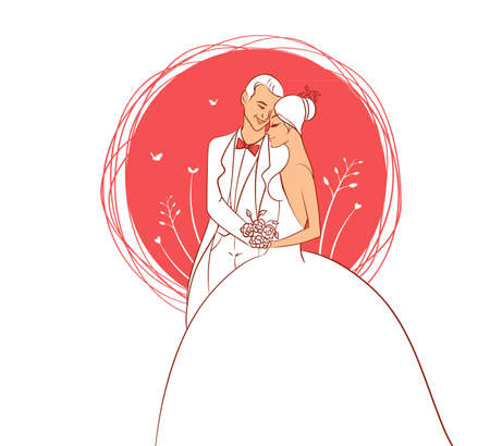 a fellow: Vector illustration of Wedding couple Illustration