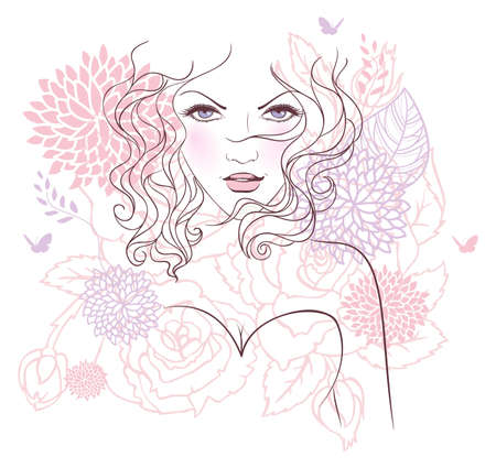 Vector illustration of Beauty floral woman Stock Vector - 15163917