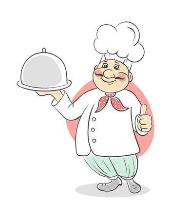 sirvientes: Ilustraci�n vectorial de chef cocinero hombres