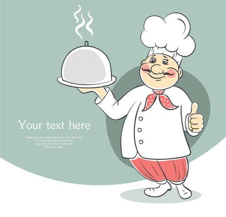 serveur avec plateau: Vector illustration d'hommes chef cuisinier