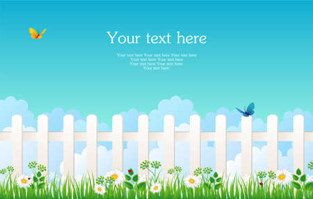 White fence with grass Vector