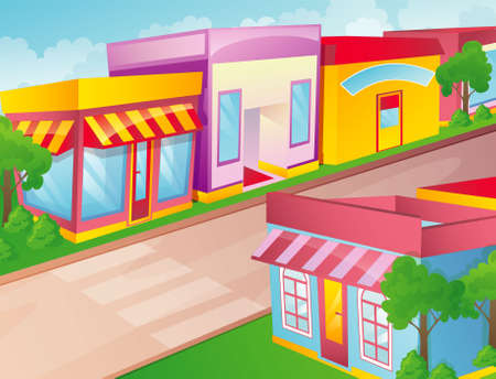 town abstract: Vector illustration of color city Illustration