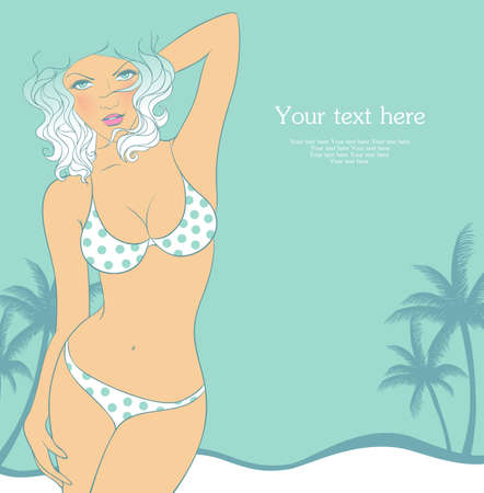 Vector illustration of Summer woman in swimsuit Stock Vector - 15174960