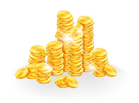 stack of cash: Monedas de oro