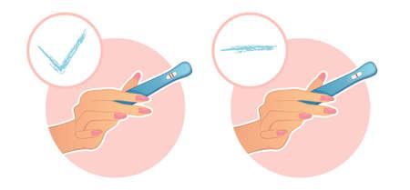 prueba de embarazo: ilustraci�n de la mano de la mujer sostiene una prueba en el embarazo