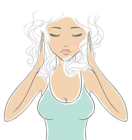 sickness: Mujer con dolor de cabeza Vectores