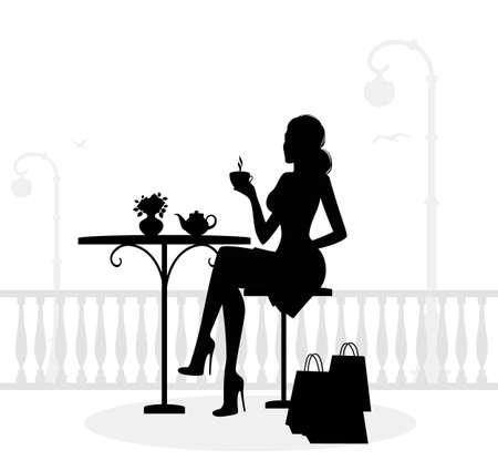 mujer tomando cafe: Silueta de mujer hermosa en café Vectores
