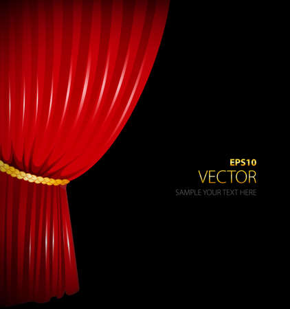 Vector illustration of Red curtain Vector