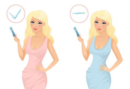 pregnancy test: Woman holding a pregnancy test Illustration