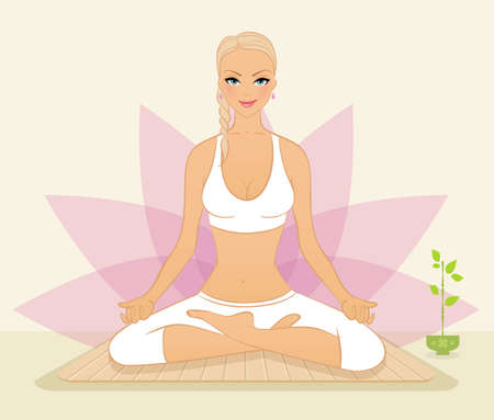 fitness instructor: Vector illustration of Beautiful woman doing youga exercises Illustration