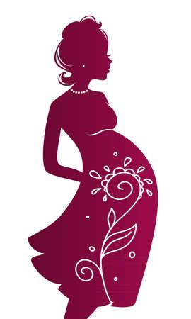 single parent: illustration of Pregnant woman