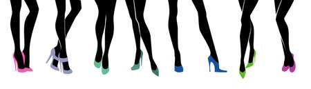 Illustratie van vrouwelijke benen met verschillende schoenen