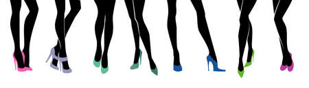 classic woman: illustration of Female legs with different shoes
